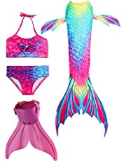 Silver_river Girls Mermaid Tail for Swimming with Monofin Swimsuit 4PCS