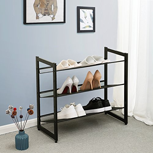 -[ Songmics 3 Tier Shoe Rack Storage Metal Mesh, Stackable Shoe Shelf Stand with Flat & Angled