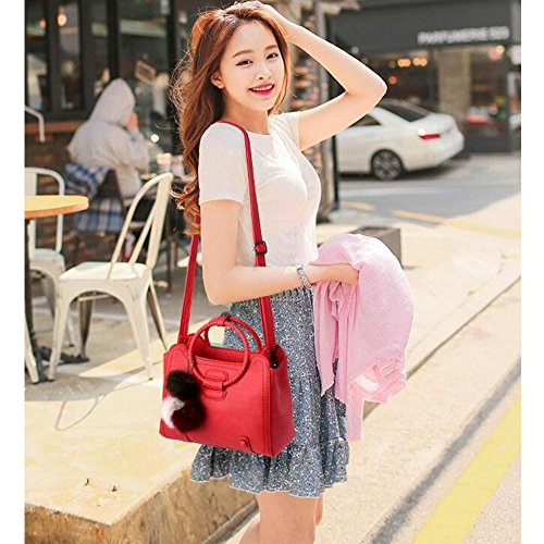 Toopot Mujer Simple Color Puro Pu Boutique Bolsas De Cuero Top Handle Bolso Señoras Casual Cross-Body Bolsa VINO ROJO
