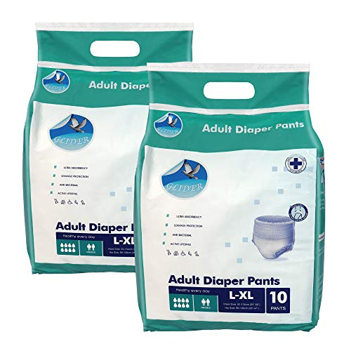 Glider Adult Diaper Pull Ups LARGE-XL – Pant Style (Count 10), (35-47 inch, 90-120 cm) (Pack of 2)