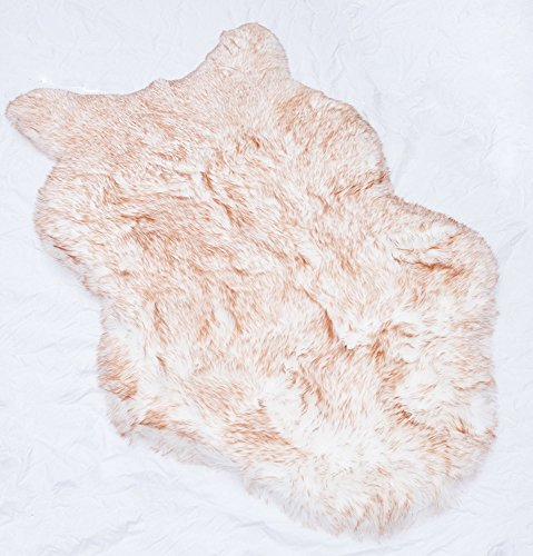 Rugs 4 Less Collection – Faux Fur Wolf Sheep Bear Imitation Animal Skin Fur Pelt Shag Rug - Ivory Tip Dyed Brown (23in x 38in) (Skin Faux Sheep)