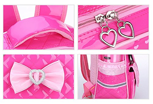 Tibes Mochila estudiante lindo Mochila para niñas Mochila de cuero PU Rosa Rosa