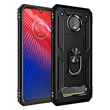BestST Funda Motorola Moto Z4 Armor Carcasa con 360 Anillo iman Soporte Hard PC y Silicona TPU Bumper antigolpes Fundas Carcasas Case para movil ...