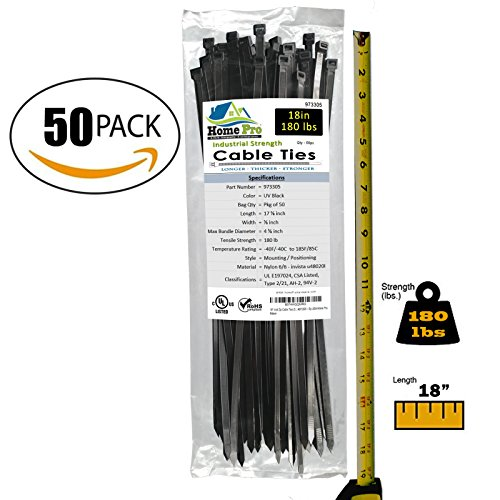 Heavy Duty 18 Inch Zip Cable Ties (50 Pieces) — 180 LB Extra Strength — Extreme Weather Industrial & Marine Grade 6/6 Nylon, UV - Zip Pro
