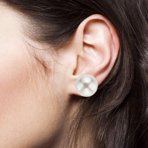 pearlyta Femme Blanc Perle de culture d'eau douce Boucles d'oreilles clous en or jaune 14K-QUALITÉ AAA (10-10,5mm)