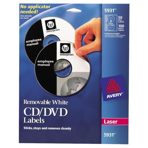 Avery CD/DVD Label. 50-INSERTS/LABELS 05931 MATTE CD/DVD JEWEL CASES FOR LASERS ST-JWL. 50 / Pack - Circle - 2/Sheet - Laser - White Dvd Case Insert White Laser