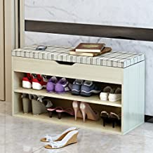 Dland Storage Bench Hall Entryway 2-Tier Shoe Bench Racks Linen Top Sofa Style, Maple