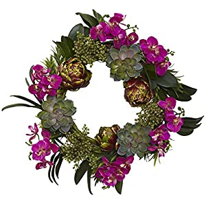 Nearly Natural 4989 Orchid Artichoke and Succulent Wreath, 20-Inch 15