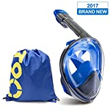 Full Face Snorkel Mask 2.0 2017 NEW Curved Snorkeling Mask Easybreath Diving Scuba Mask with GoPro Camera Mount,Anti Fog Anti Leak Dry Snorkel Technology with Sport Drawstring Bag For Adults and Kids