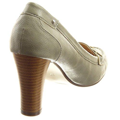 Sopily - Zapatillas de Moda Tacón escarpín Tobillo mujer nodo Talón Tacón ancho alto 8.5 CM - Gris