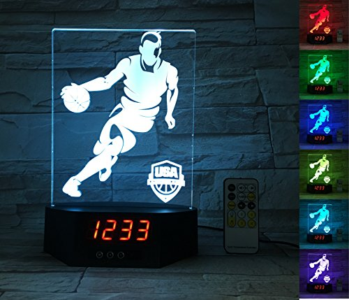 ATOMFIT BASKETBALL SPORT 3D LED Night Light for Home, Table or Desk Lamp, 3D LED Illusion Lamp With 7 Color Switching, Effects - 3D LED Clock Base With Temperature Sensor, Perfect Sports Fan Gift