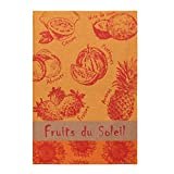 Coucke French Cotton Jacquard Towel French Produce Collection, Fruits D'Ete (Summer Fruits), 20-Inches by 30-Inches, Orange and Red