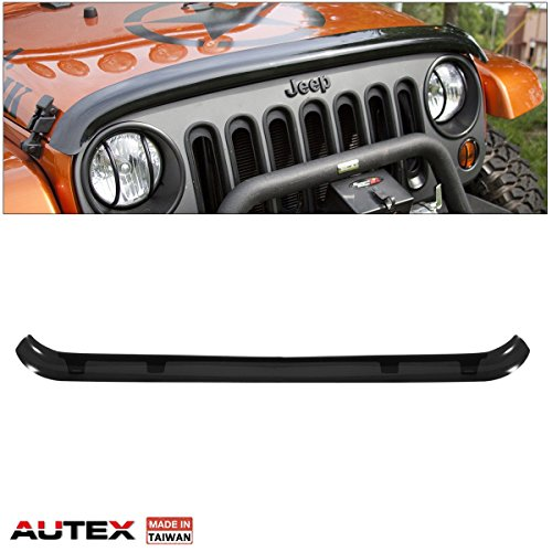 - AUTEX Hood Shield Bug Deflector Compatible with Jeep Wrangler JK 2007 2008 2009 2010 2011 2012 2013 2014 2015 2016 2017 2018 Bug Protector Shields