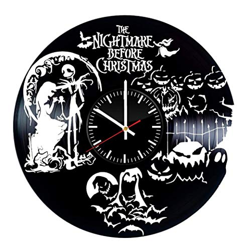 Victory Gifts Store Nightmare Before Christmas Halloween Town Vinyl Record Wall Clock – Unique Gift for Kids and Adults - Home Wall Decor for Any Space ()