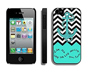 BINGO Customized Live The Life You Love, Love The Life You Live. Turquoise Black and White Chevron With Anchor iPhone 4 4S Case Black Cover