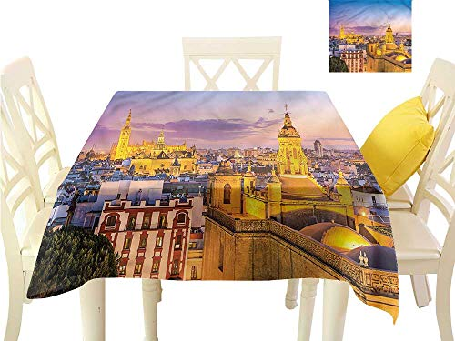 Davishouse Square Polyester Tablecloth City Skyline of Spain Washable Polyester - Great for Buffet Table, Parties, Holiday Dinner, Wedding & More W60 x L60 ()