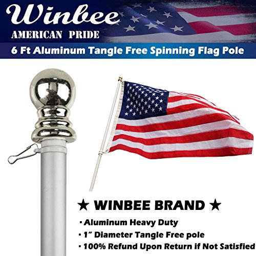 Garden Flag Kit (Aluminum Heavy Duty Flag Pole - 6 Ft Tangle Free Spinning Flag Pole Residential or Commercial, Best Garden Flag Pole for American Flag with Grommets, Wind Resistant and Rust Free (Silver + Silver))