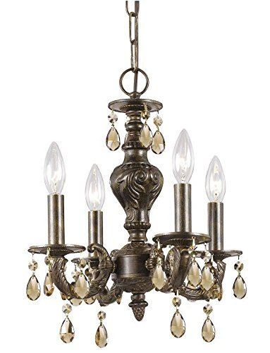 - Crystorama 5024-VB-GTS Crystal Accents Four Light Mini Chandelier from Paris Market collection in Bronze/Darkfinish,