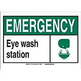 "Brady 119991 Pressure Sensitive Vinyl""Emergency Eye Wash Station"" Office and Facility Sign, Black/Green/White"
