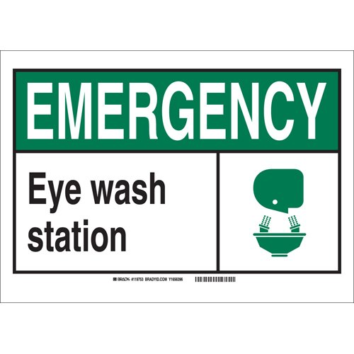 "Brady 119991 Pressure Sensitive Vinyl""Emergency Eye Wash Station"" Office and Facility Sign, Black/Green/White"