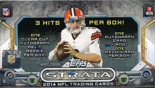 2014 Topps Strata NFL Football Factory Sealed HOBBY Box with THREE(3) AUTOGRAPH/RELIC Cards and 108 Cards! Look for RC's and Autographs of Odell Beckham Jr,Manziel,Bridgewater and Many More!
