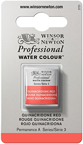 (Winsor & Newton Professional Water Colour Paint, Half Pan, Quinacridone Red)