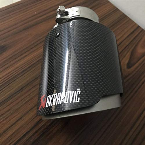 "1x Akrapovic  Glossy Carbon Fiber Dual Exhaust Tip  ID:2.5/"" 63mm OD:4/"" 101mm"