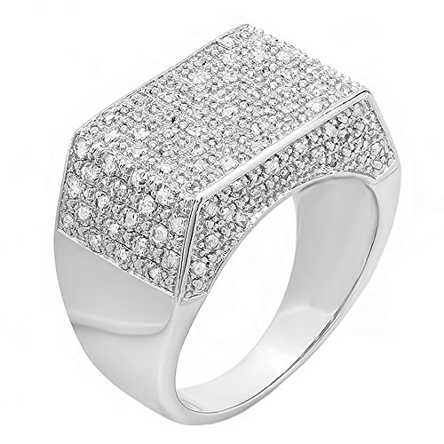 Dazzlingrock Collection 0.45 Carat (ctw) Sterling Silver Fancy Round Diamond Men's Iced Pinky Ring 1/2 CT, Size 9