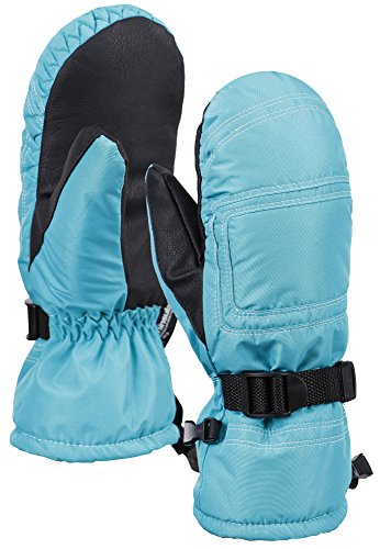 ANDORRA Women's Winter Snow Thinsulate Lined Waterproof Ski Mittens, M/L, Blue