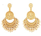 Touchstone New Indian Bollywood Finely Hammered and Embossed Traditional Faux Pearls Charming Look Dangling Chand Baali Half Moon Motif Designer Jewelry Earrings in Antique Gold Tone for Women.