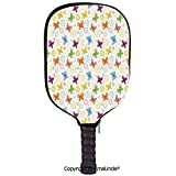 AmaUncle 3D Pickleball Paddle Racket Cover Case,Cartoon Style Animal Silhouette with Flower Patterned Background Vibrant Image Customized Racket Cover with Multi-Colored,Sports Accessories