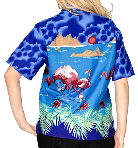 La Leela señoras likre suave la manga corta flamenco 4 en 1 hawaii fiesta caribeña tema eventuales día fiesta sala estar regalo blusa regular la tapa vestido hawaiano ajuste botón camisa azul real azul real