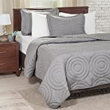 Lavish Home Solid Embossed 2 Piece Quilt Set – Twin – Silver