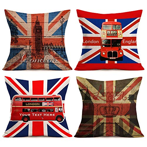 Aremazing 4 Pack Vintage British Style Home Decor Pillowcase Patriotic United Kingdom Flag with London Style Design Home Decorative Cotton Linen Throw Pillow Case Cushion Cover 18inches,Red Blue