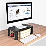Monitor Stand Riser with Adjustable Height and Storage Organizer for Computer, iMac, Printer, Laptop, Desk (Tablet & Phone Holder, Cable Management Slot, Black)