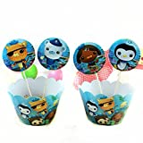 Astra Gourmet 24pc Octonauts Cupcake Wrappers and Toppers for Birthday Party Event Decor