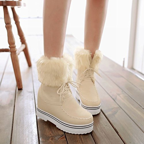 Latasa Womens Faux Fur Lace up Platform Inside Wedges Winter Snow Boots Beige cRQ5rE