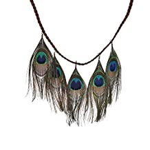 Lureme Native American Braided Leather String with Peacock Feather Pendants Necklace for Women and Girls (01002127)