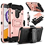Alcatel T-Mobile REVVL Case, Alcatel A30 Fierce Case, Venoro Heavy Duty Armor Shockproof Rugged Protection Case Cover with Belt Clip and Kickstand for Alcatel A30 Plus/Alcatel Walters (Rose Gold)