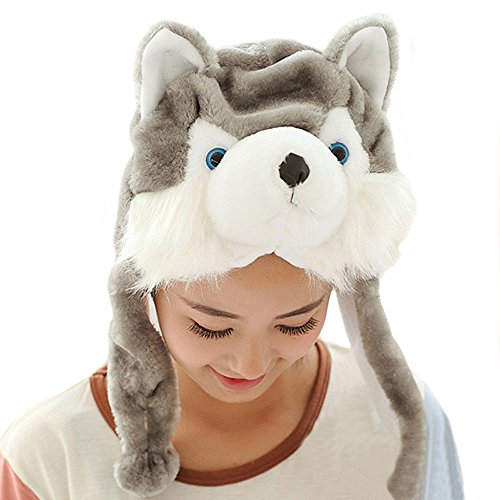 Funny Dog Costumes Husky (Lacheln Cartoon Stuffed Animal Hat Plush Party Costume)