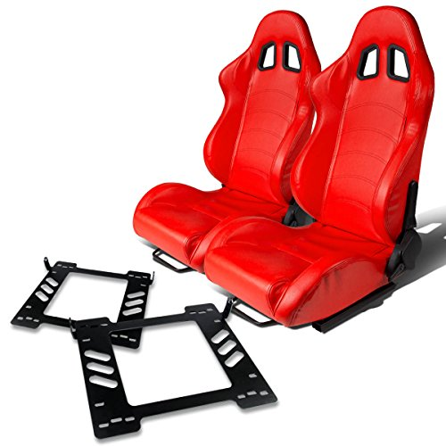 Pair of RST1PVCRD Racing Seats+Mounting Bracket for Jeep Wrangler JK