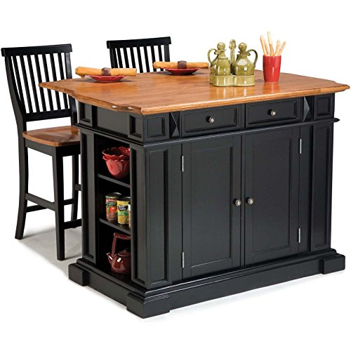 Gracewood Hollow Alleyn Black Distressed Oak Finish Kitchen Island and Barstools Kitchen Set (Oak Brass Bar Stool)