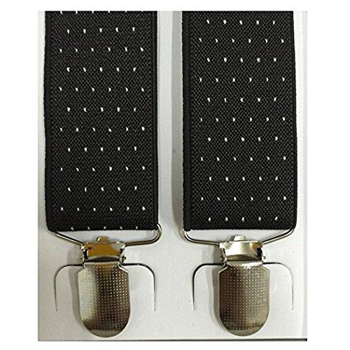 Kllniss Men's Clip Suspender Y-Back Adjustable Elastic Shoulder Strap 1.4'' Wide (One Size, Black) by Kllniss (Image #3)