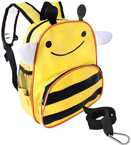Bee Toddler Safety Harness Backpack for Kids by Boxiki Kids. Lightweight Multiple Compartment Mini Cool Backpack for Kids. Child Backpack with Toddler Harness. Toddler Backpack Bag with Leash.