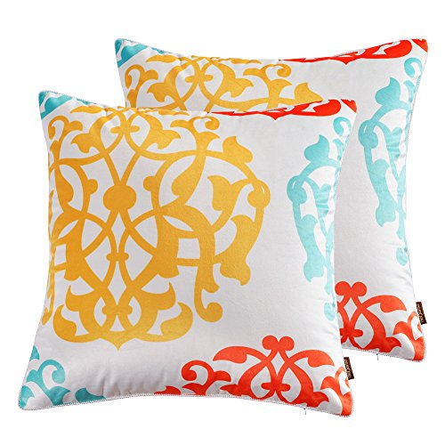 "nioBomo 2-pack Super Soft Throw Pillow Case Decorative Cushion Covers 18"" X 18"" for Bed Livinig Room Couch Sofa Three-tone Floral Geometric (4)"