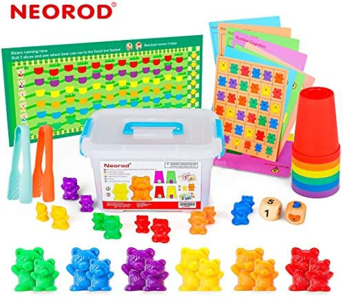 NEOROD Rainbow Counting BearsMatching Sorting Cups Number Color Recognition STEM Educational Toddler Preschool Math Manipulatives Toy Set of 90 2 Tweezers 2 Dices 12 Cards Container