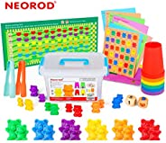 NEOROD Rainbow Counting Bears with Matching Sorting Cups, Number Color Recognition STEM Educational Toddler Pr