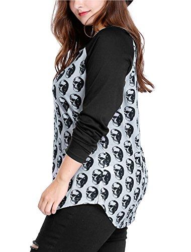 Agnes Orinda Mujer Talla extra cráneo con contraste de color imprime Raglan T-Camisa Gray