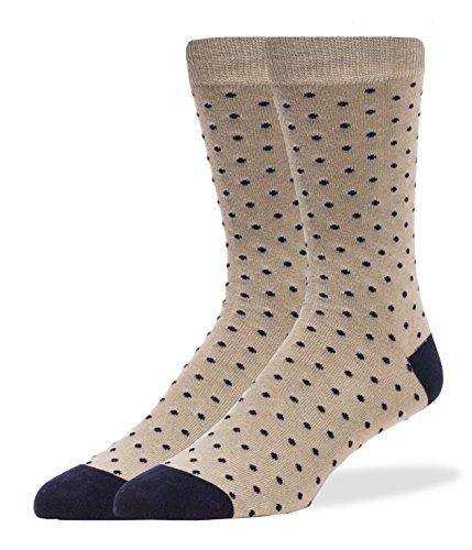 SPREZZA Men's Polka Dot Crew Dress Socks, Cotton, Size 9-13, Tan (Dress Socks Tan)