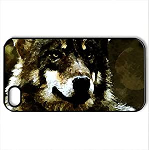 The Wolf Stare - Case Cover for iPhone 4 and 4s (Dogs Series, Watercolor style, Black)